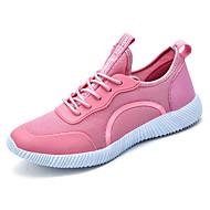 Feminino-Tênis-Conforto Solados com Luzes par sapatos-Rasteiro-Preto Azul Escuro Rosa claro-Tule-Ar-Livre Casual Para Esporte