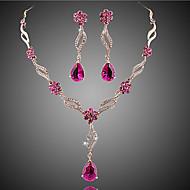 Conjunto de Jóias Sets nupcial Jóias Cristal imitação de ruby Floral Moda Europeu Cristal Zircão Zircônia Cubica Liga JóiasRoxo Rosa