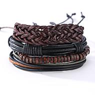 Homme Bracelets en cuir Cuir Vintage Style Punk Forme Ronde Noir Bijoux 1pc