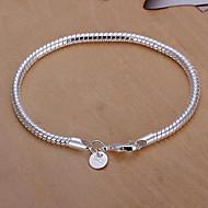 Dames Armbanden met ketting en sluiting Basisontwerp Modieus Klassiek Sterling zilver Ronde vorm Zilver Sieraden Voor Feest Dagelijks1