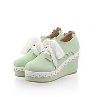 Damen-Flache Schuhe-Lässig-PU-Flacher Absatz-Komfort-Weiß Grün