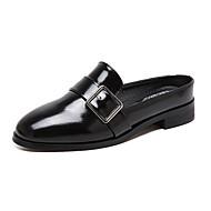 נשים-שטוחות-PU-נוחות חדשני רצועה אחורית-שחור-שטח שמלה יומיומי מסיבה וערב-עקב שטוח עקב סטילטו
