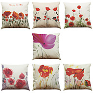 Set of 7 Bright Flower Pattern Linen  Cushion Cover Home Office Sofa Square  Pillow Case Decorative Cushion Covers Pillowcases As a Gift