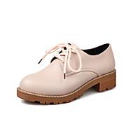 Oxford-kengät-Matala korko Leveä korko Block Heel-Naiset-Mikrokuitu-Beesi Harmaa Pinkki-Ulkoilu Puku Rento-Comfort Valopohjat
