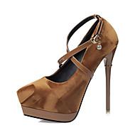 Feminino-Saltos-Conforto Inovador Gladiador Sapatos clube-Salto Agulha-Preto Cinzento Castanho Escuro Vinho-Courino-Casamento Ar-Livre
