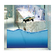Tortoise Seamless Splice 3D Seawater PVC Glass Stickers Decoration for The Bathroom