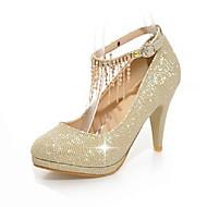 Feminino-Saltos-Sapatos clube-Salto Agulha-Dourado Preto Prata Vermelho-Gliter Materiais Customizados-Casamento Social Festas & Noite