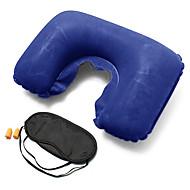 3PCS Máscara de Dormir Travesseiro de Viagem Tampão de Ouvido de Viagem Dobrável Forma U Descanso em Viagens Inflável Multi funções para