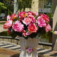 1 Větev Vlákno Růže Květina na stůl Umělé květiny