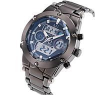 ASJ Herre Sportsur Armbåndsur Japansk Quartz LCD Kalender Kronograf Vandafvisende Dobbelte Tidszoner alarm Rustfrit stål Bånd Luksus Sølv