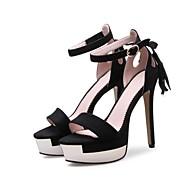 נשים-סנדלים-מיקרופייבר עור פליז-רצועה אחורית גלדיאטור רצועת קרסול סוליות מוארות נעלי מועדון נעליים פורמלית נוחות חדשני-שחור אדום-חתונה