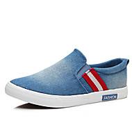 גברים-נעליים ללא שרוכים-קנבס-נוחות-שחור כחול כהה כחול בהיר-יומיומי-עקב שטוח