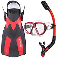 Snorkelsett Dykking og snorkling Gummi Glass Silikon Rød Gul Blå Svart-WHALE