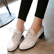 נשים-נעלי אוקספורד-PU-נוחות-לבן חום אדום-יומיומי-עקב נמוך