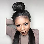 Női Emberi hajból készült parókák Remy Csipke eleje 120% 130% Sűrűség Egyenes Paróka Jet Black Fekete Sötétbarna Mediumt BROWM Rövid