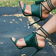 Feminino-Sandálias-Sapatos clube-Salto Agulha-Preto Verde Tropa-Couro Ecológico-Social Casual Festas & Noite