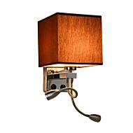 vegglamper med LED leselys og på / av-bryter metall med stoff skygge, e27 pære ikke inkludert