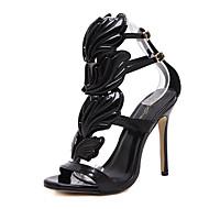 Feminino-Sandálias-Sapatos clube Conforto Inovador Gladiador-Salto Agulha-Dourado Preto Nú-Courino-Casamento Ar-Livre Escritório &