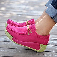 Women's Sneakers Spring Summer Fall Winter Ankle Strap Cowhide Outdoor Casual Wedge Heel Lace-up