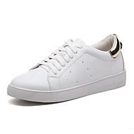 Damen-Sneaker-Büro Kleid Lässig-Kunstleder-Flacher Absatz-Komfort-Weiß