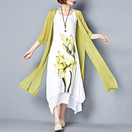 Women's Plus Size Going out Simple Loose Dress,Floral Round Neck Maxi ½ Length Sleeve Cotton Summer Mid Rise Inelastic Medium