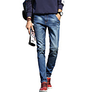 Herren Einfach Mittlere Hüfthöhe Micro-elastisch Jeans Schlank Hose einfarbig