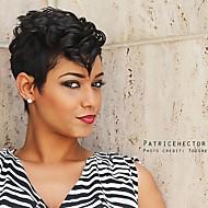 πιο hot περούκα&μετάξι σύντομο φυσικό κυματιστό μαύρο καπάκι χωρίς καπάκι περούκα ανθρώπινη τρίχα για τις γυναίκες το 2017
