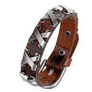 Homme Couple Bracelets en cuir Naturel Cuir Noir Marron Bijoux Pour Anniversaire Sports 1pc