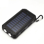 Power Bank with Solar Charger 20000mAh Flashlight Compass USB for Outdoors Trips