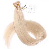 # 60 mais leves 100g louro ponta plana de cabelo extensões 10a melhor qualidade de cabelo Remy peruana cabelo humano de fus de queratina