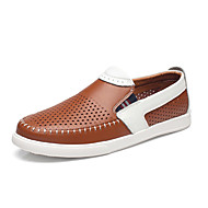 Men's Oxfords Spring Summer Moccasin Hole Shoes Cowhide Outdoor Office & Career Casual Flat Heel
