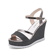 Women's Sandals Summer Creepers Leatherette Outdoor Party & Evening Dress Wedge Heel Buckle Walking