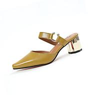 Naiset Sandaalit Comfort PU Kesä Comfort Leveä korko Valkoinen Musta Keltainen 1-1,75in