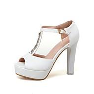 Feminino-Sandálias-Conforto Inovador Sapatos clube-Salto Grosso-Branco Preto Rosa claro-Materiais Customizados Courino-Ar-Livre Festas &