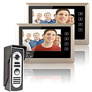 mountainone 7 inch video deurtelefoon deurbel intercom systeem kit 1-camera 2-monitors nachtzicht