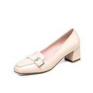 Dame-PU-Tykk hæl-Komfort-一脚蹬鞋、懒人鞋-Kontor og arbeid Formell Fritid-Svart Beige Rosa