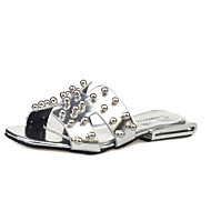 Damen-Sandalen-Outddor-PU-Flacher Absatz-Komfort-Schwarz Silber