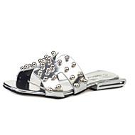 Sandały-Damskie-Comfort-Płaski oncas-Black Silver-PU-Turystyka