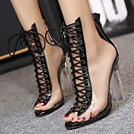 נשים-סנדלים-PVC PU-נוחות חדשני נעלי מועדון-שחור שקד-חתונה שטח שמלה יומיומי מסיבה וערב-עקב קריסטל