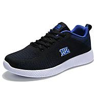 Herren-Sneaker-Outddor Lässig Sportlich-PU-Flacher Absatz-Komfort Mary Jane Leuchtende Sohlen-Schwarz Schwarz / blau