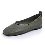Damen-Flache Schuhe-Outddor Lässig-Kunstleder-Flacher Absatz-Loch Schuhe Komfort Leuchtende Sohlen-Weiß Schwarz Grün