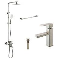 Zeitgenössisch Badewanne & Dusche Regendusche Breite spary Handdusche inklusive with  Keramisches Ventil Zwei Griffe Zwei Löcher for