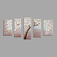 Maalattu Kukkakuvio/Kasvitiede Vaakasuora,Pastoraali European Style 5 paneeli Kanvas Hang-Painted öljymaalaus For Kodinsisustus