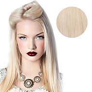 9pcs / set Deluxe 120g # 60 platium blond ash blond klip w przedłużanie włosów 16inch 20inch 100% prostą ludzkie włosy