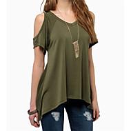 Sommar Enfärgad Kortärmad Ledigt/vardag Strand T-shirt,Enkel Dam V-hals Polyester Tunn