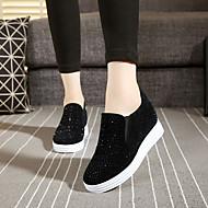 Mokasyny i pantofle-Damskie-Comfort-Koturn-White Black Czerwony-Polar-Casual