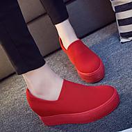 Mokasyny i pantofle-Damskie-Comfort-Koturn-Black Czerwony-Materiał-Casual