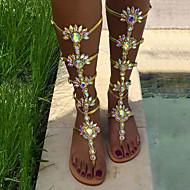 Ženske Sandale Proljeće Ljeto Inovativne cipele PU Vjenčanje Formalne prilike Zabava i večer Ravna potpetica Štras Cvijet