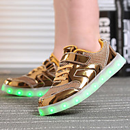 Jungen-Sneaker-Outddor Lässig Sportlich-Tüll PU-Flacher Absatz-Komfort Neuheit Light Up Schuhe-Gold Silber Rosa