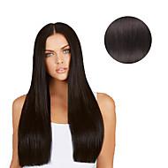7 szt / set # 1b Natural Black off czarny klip w przedłużanie włosów 14inch 18inch 100% ludzkie włosy